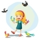 A Girl Playing with the Birds - GraphicRiver Item for Sale