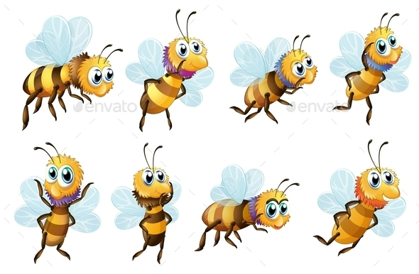 GraphicRiver Eight Bees in different Positions 9259613