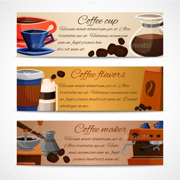 GraphicRiver Coffee Banners Set 9259616