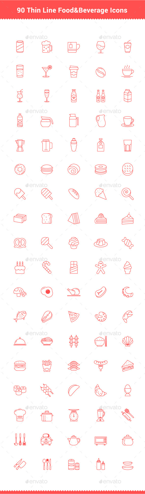GraphicRiver 90 Thin Line Stroke Food and