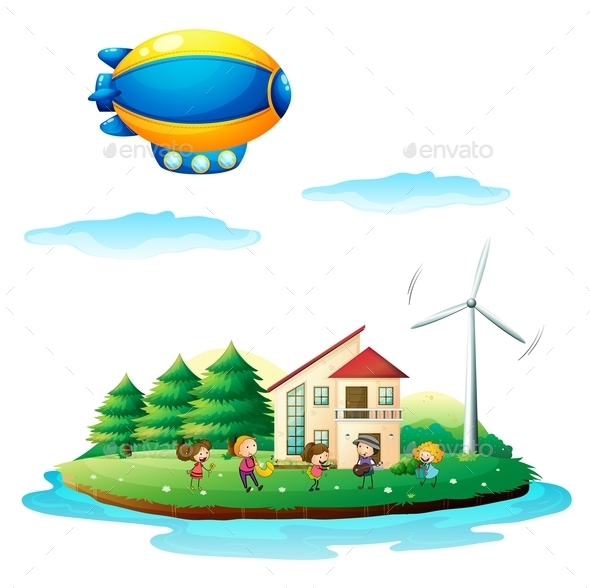 GraphicRiver Children near the Windmill 9259621