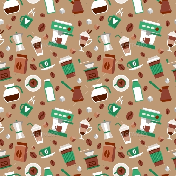 GraphicRiver Coffee Seamless Pattern 9259628