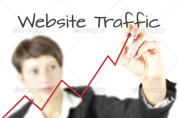 PhotoDune Business Woman Drawing Website Traffic Graph 946296