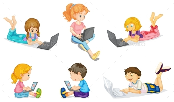 GraphicRiver Kids with Laptop 9259687