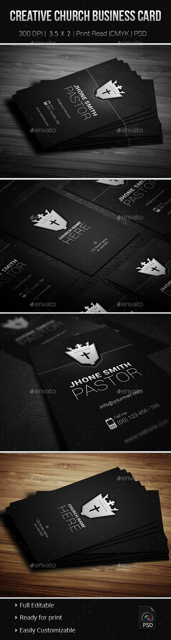 GraphicRiver Creative Church Business Card 9259716
