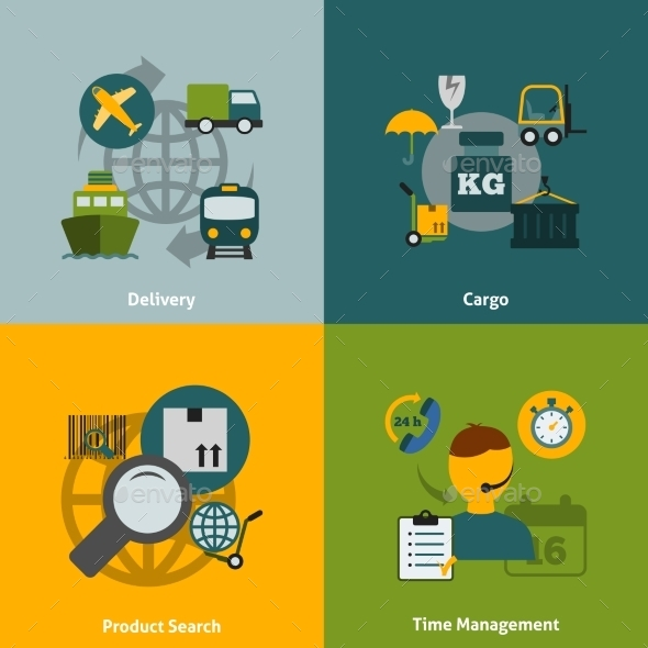 GraphicRiver Logistic Flat Icons Composition 9259732