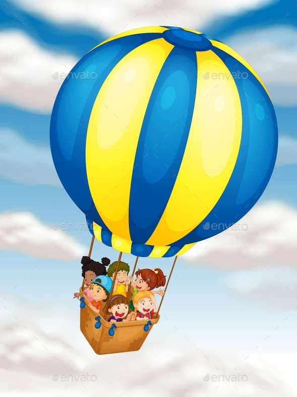 GraphicRiver Kids Flying in Hot Air Balloon 9259734
