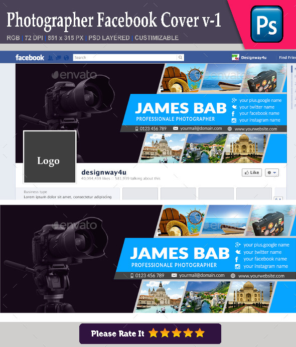 GraphicRiver Photographer Facebook Cover v-1 9259740