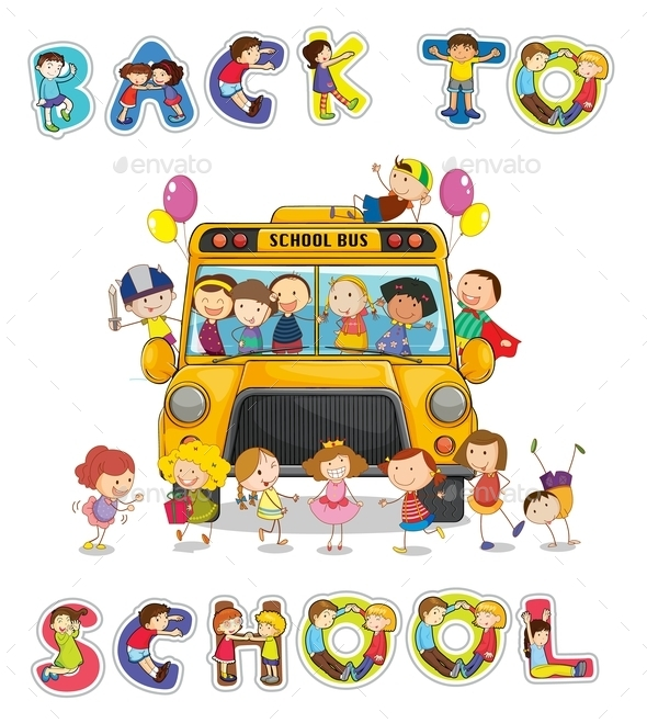 GraphicRiver School Bus and English Word Back to School 9259748