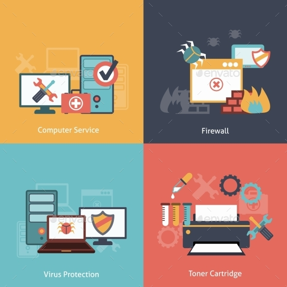 GraphicRiver Computer Repair Flat Icons Composition 9259756