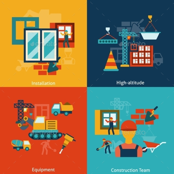 GraphicRiver Construction Icons Composition Flat 9259764