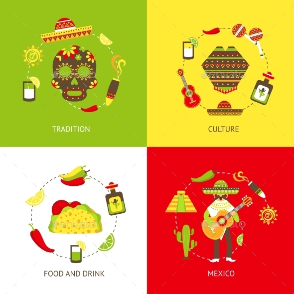 GraphicRiver Mexico Flat Icons Set 9259769