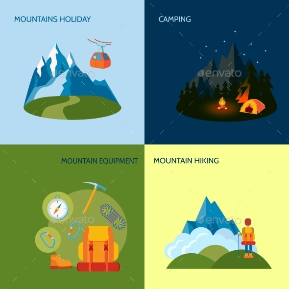 GraphicRiver Camping Icons Set Flat 9259777