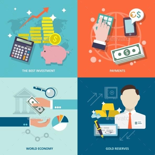 GraphicRiver Bank Service Icons Flat Set 9259808