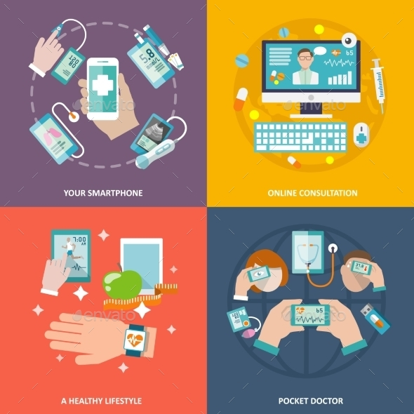 GraphicRiver Digital Health Icons Set Flat 9259813