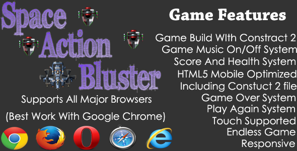 CodeCanyon Space Action Bluster HTML5 Endless Shooting Game 9186656