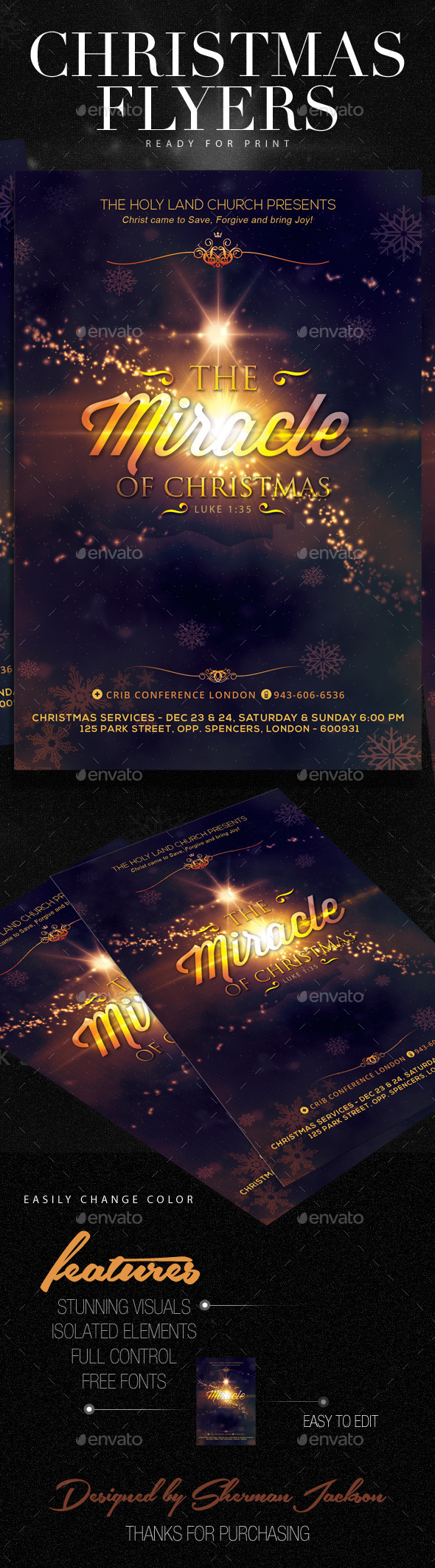 GraphicRiver Christmas Flyer Series Christmas Miracle 9259846