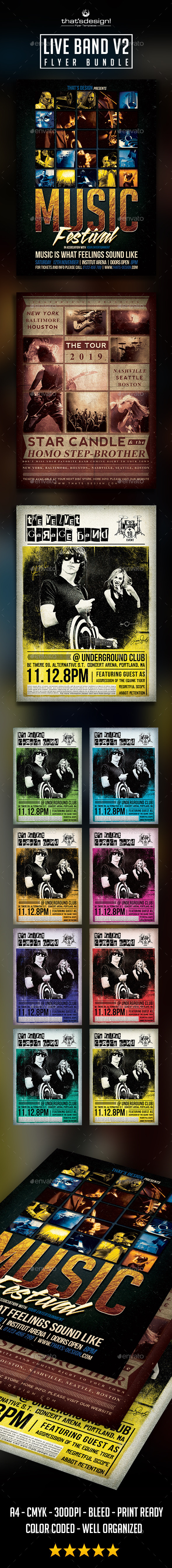 GraphicRiver Live Band Flyer Bundle V2 9259849