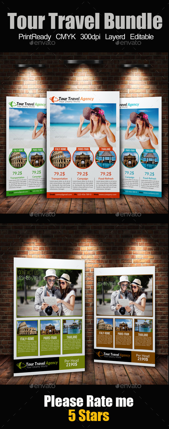 GraphicRiver A4 Tour Travel Flyer Bundle 9259966