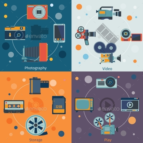 GraphicRiver Photo Video Icons Flat 9260063