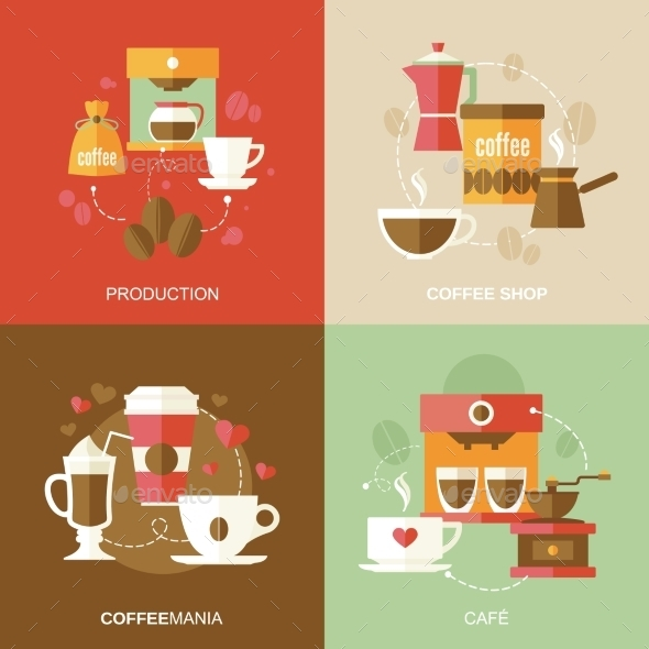 GraphicRiver Coffee Icons Flat 9260105