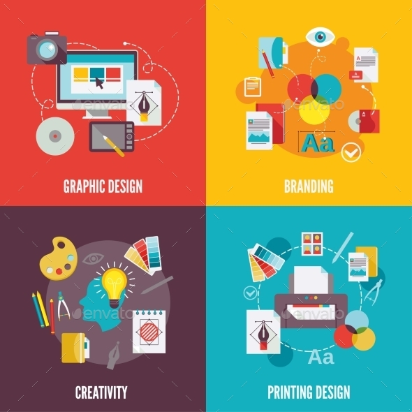 GraphicRiver Graphic Design Icons Flat 9260113