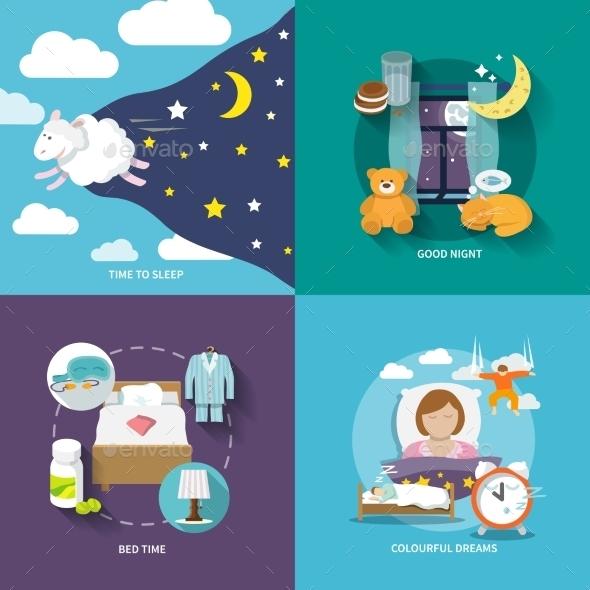 GraphicRiver Sleep Time Icons Flat 9260119
