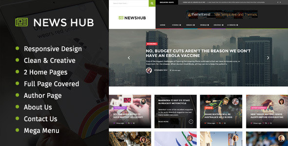 ThemeForest News Hub Full Page PSD Template 9260821