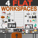 Flat Workspace Illustration - GraphicRiver Item for Sale