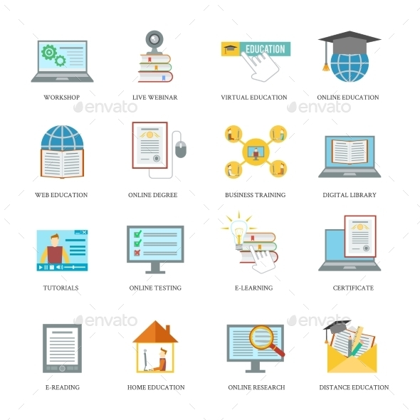 GraphicRiver Online Education Icon Set 9261414