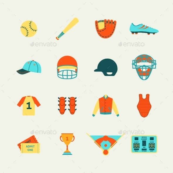 GraphicRiver Baseball Icons Set Flat 9261429