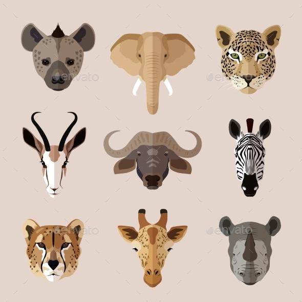 GraphicRiver Animal Portrait Flat Icon Set 9261437