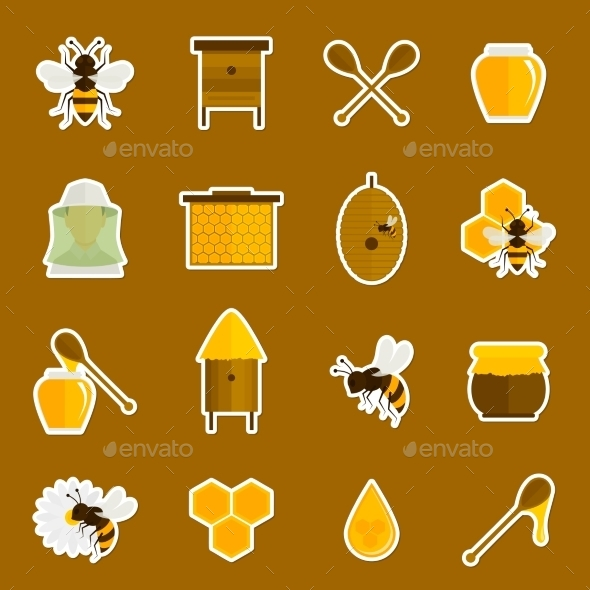 GraphicRiver Honey Bee Icon Set 9261499
