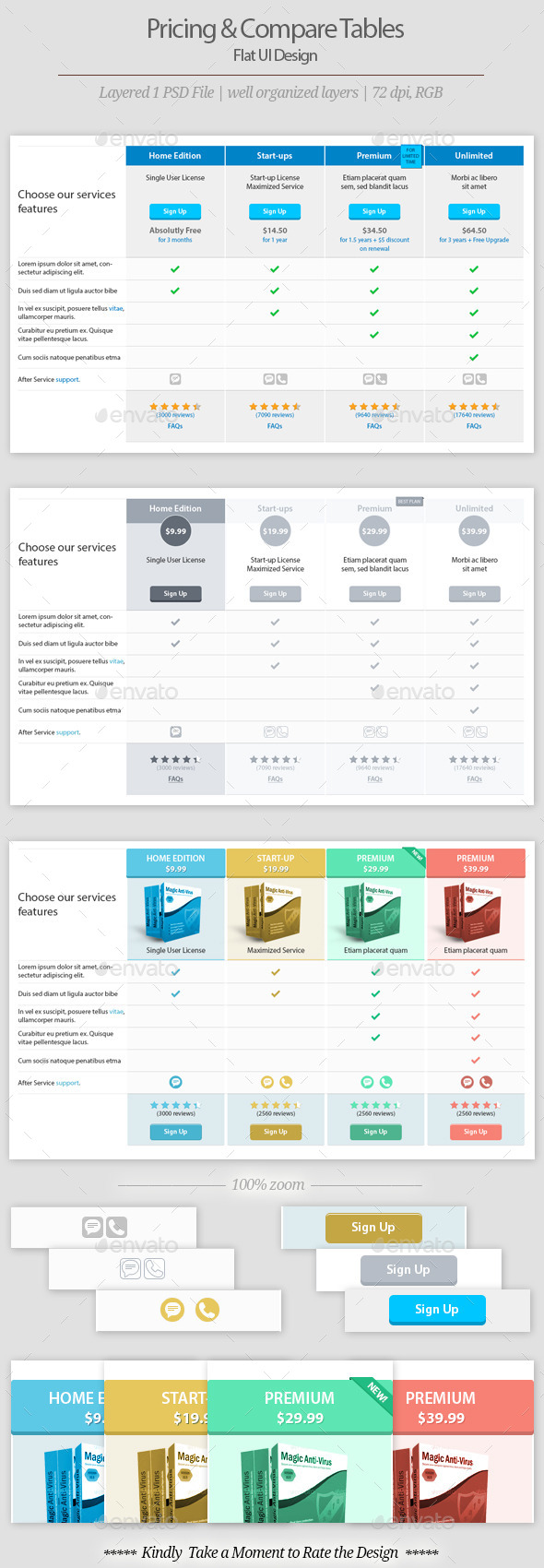 GraphicRiver Pricing and comparison Table Templates 9261506
