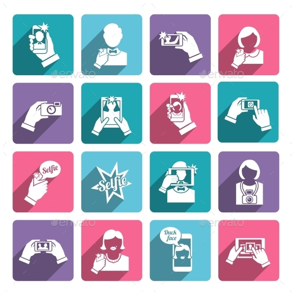 GraphicRiver Selfie Icons Flat 9261508