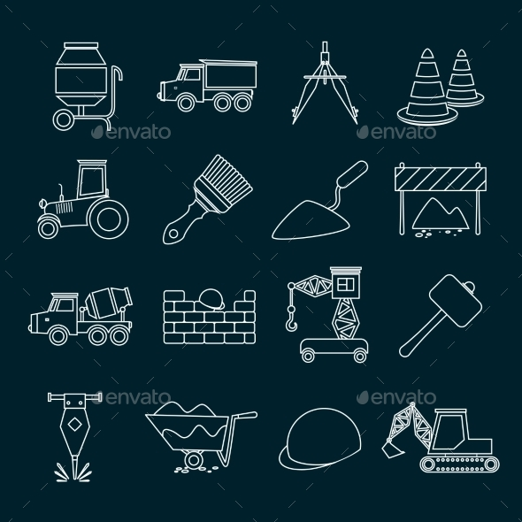 GraphicRiver Construction Icons Set Outline 9261555