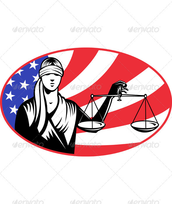 Lady Carrying Scales of Justice With American Flag