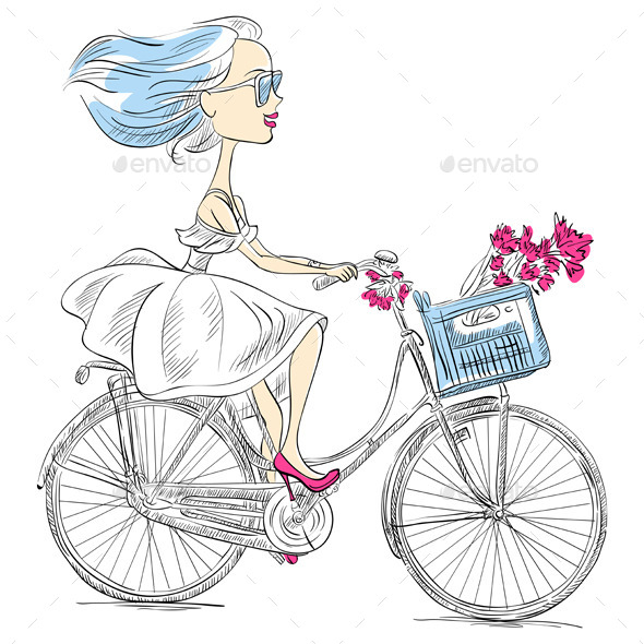 GraphicRiver Girl Rides a Bicycle 9262003