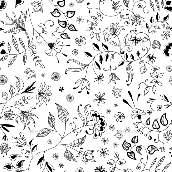 GraphicRiver Flower Seamless Floral Pattern or Background Thin 9262031