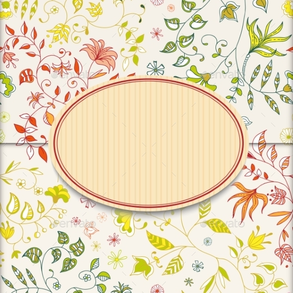 GraphicRiver Flower Retro Sticker Background 9262035