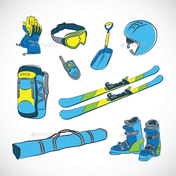 GraphicRiver Handdrawn Vector Colorfull Ski Icon Set 9262044