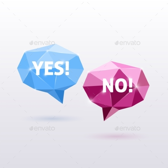 GraphicRiver Yes and No Triangle Polygonal Vector Speech Bubble 9262104