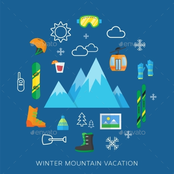 Winter vacation flat vector icon set