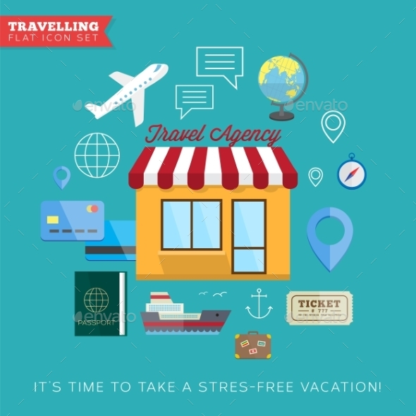 GraphicRiver Travel and vacation flat vector icon set 9262550