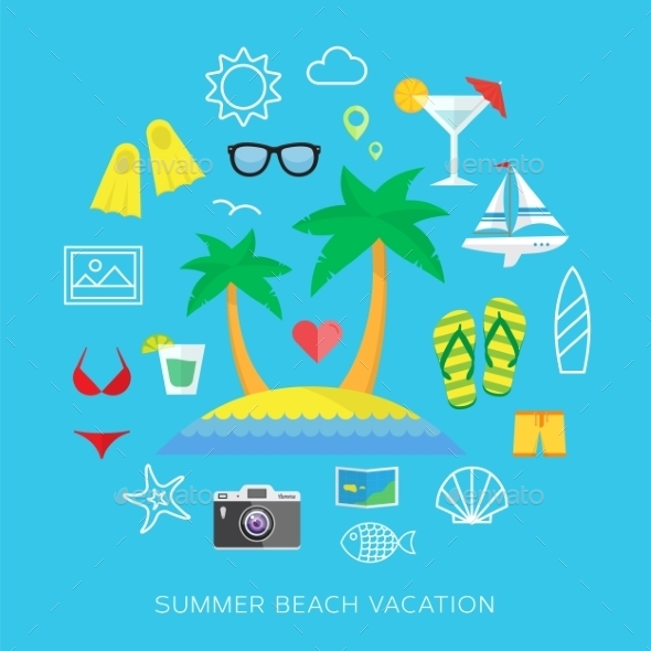 GraphicRiver Summer vacation flat vector icon set 9262552