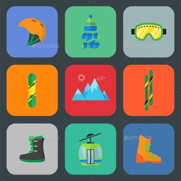 GraphicRiver Ski and Snowboard Flat Icon Set 9262594