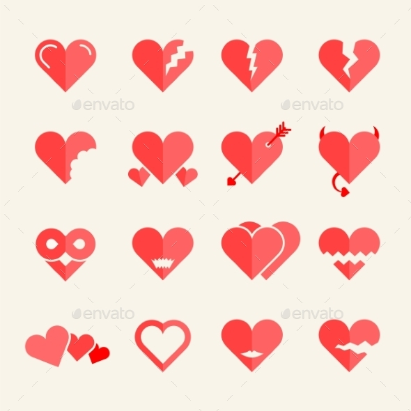 GraphicRiver Flat vector hearts set 9262603