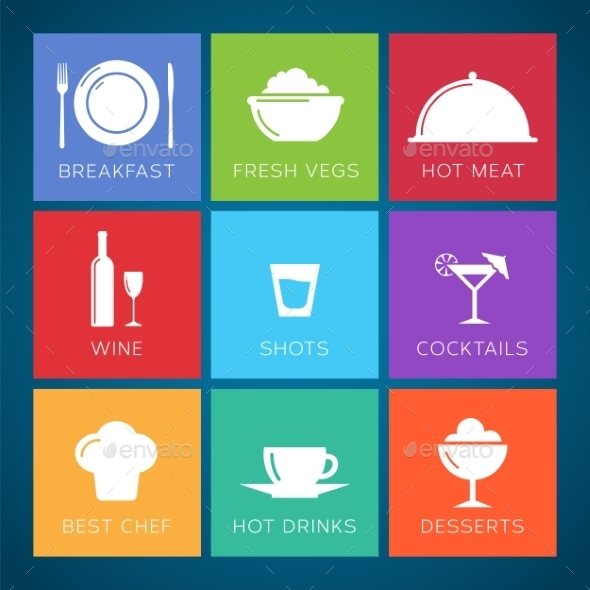Bar and Restaurant Flat Style Vector Icon Set