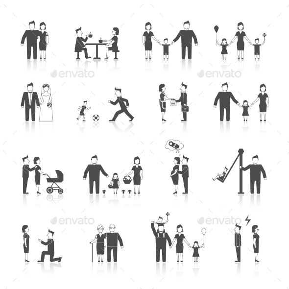 GraphicRiver Family Icons Set Black 9262696