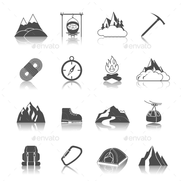 GraphicRiver Mountain Icons Black 9262798
